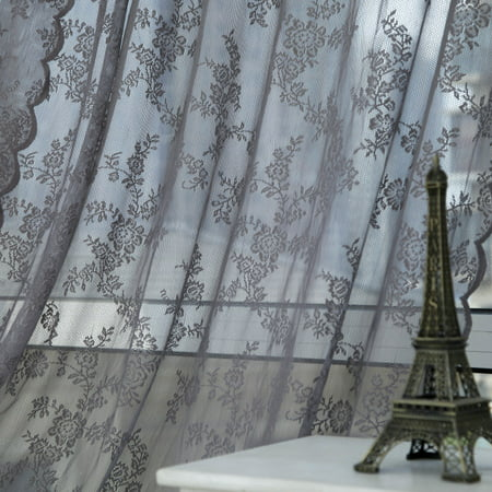 Floral Knitted Lace Curtain-3 Colors 150cm x 180cm Panel Sheer Voile Window Curtain Panel Drape Room Floral Tulle Scarfs Valances Curtains ()