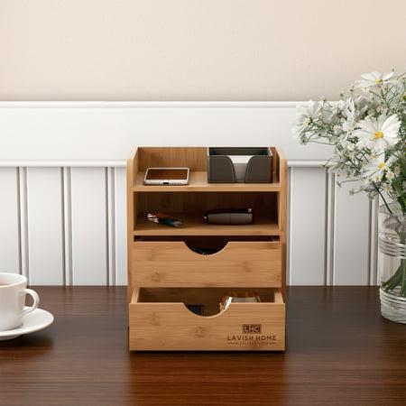 4-Tier Bamboo Desk Organizer- Supply Storage Accessory by Lavish Home