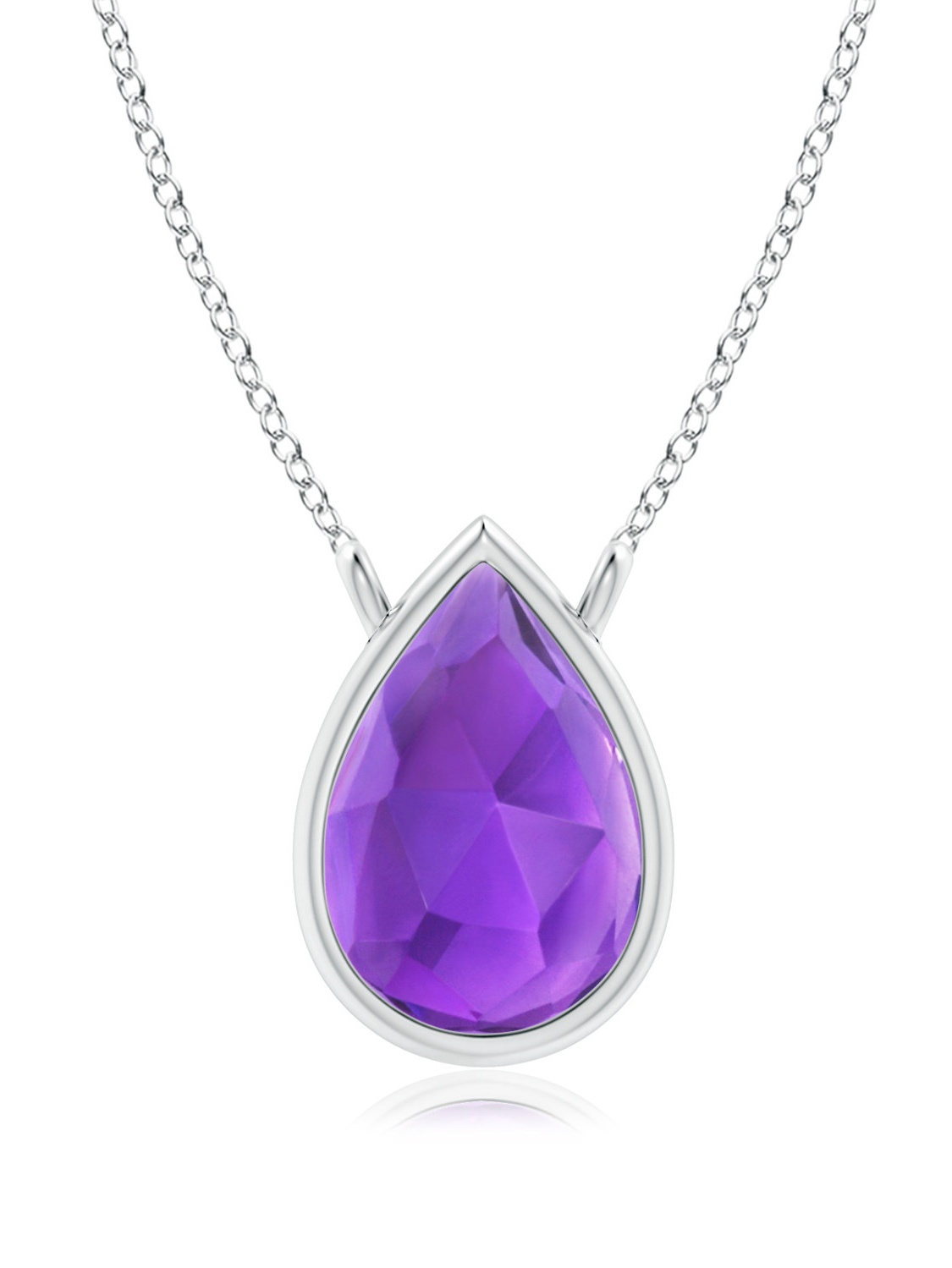 February Birthstone Pendant Necklaces Pear-Shaped Amethyst Solitaire Necklace in 14K Rose Gold (6x4mm Amethyst)... by Angara.com
