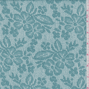 Jade Blue Floral Lace, Fabric By the Yard