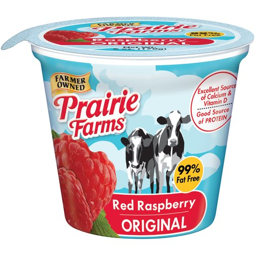 Prairie Farms Red Raspberry Original Low Fat Yogurt, 6 oz