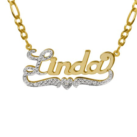 Personalized 14k gold over sterling silver nameplate necklace with personalized 14k gold over sterling silver nameplate necklace with first initial and tail beaded and rhodiumed aloadofball Images