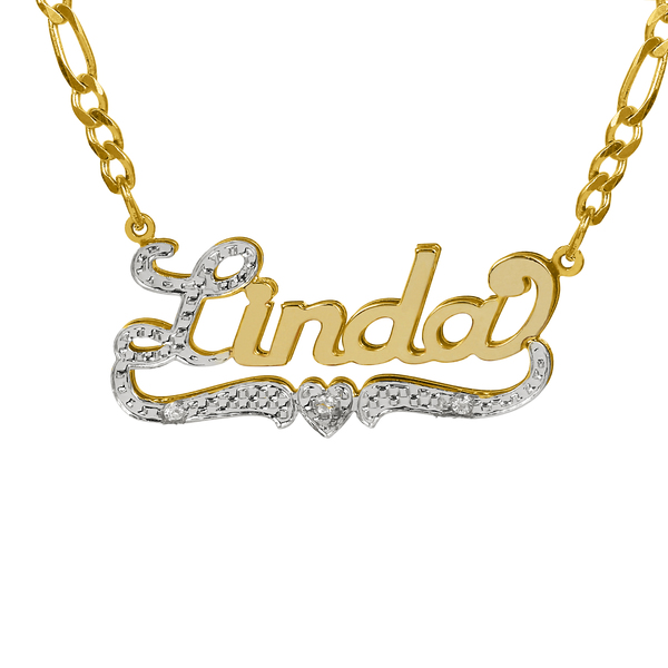 Personalized 14K Gold Over Sterling Silver Nameplate Necklace with First Initial and Tail Beaded and Rhodiumed with an 18 inch Silver Plated Figaro Chain