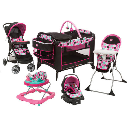Disney Minnie Dottie Playard, Travel System, Walker, and High Chair Value Set