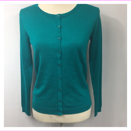 Joan Vass Women's Rib Finish At Neck Crew Neck Button Front Cardigan Sweater S/Teal Button Front Sweater