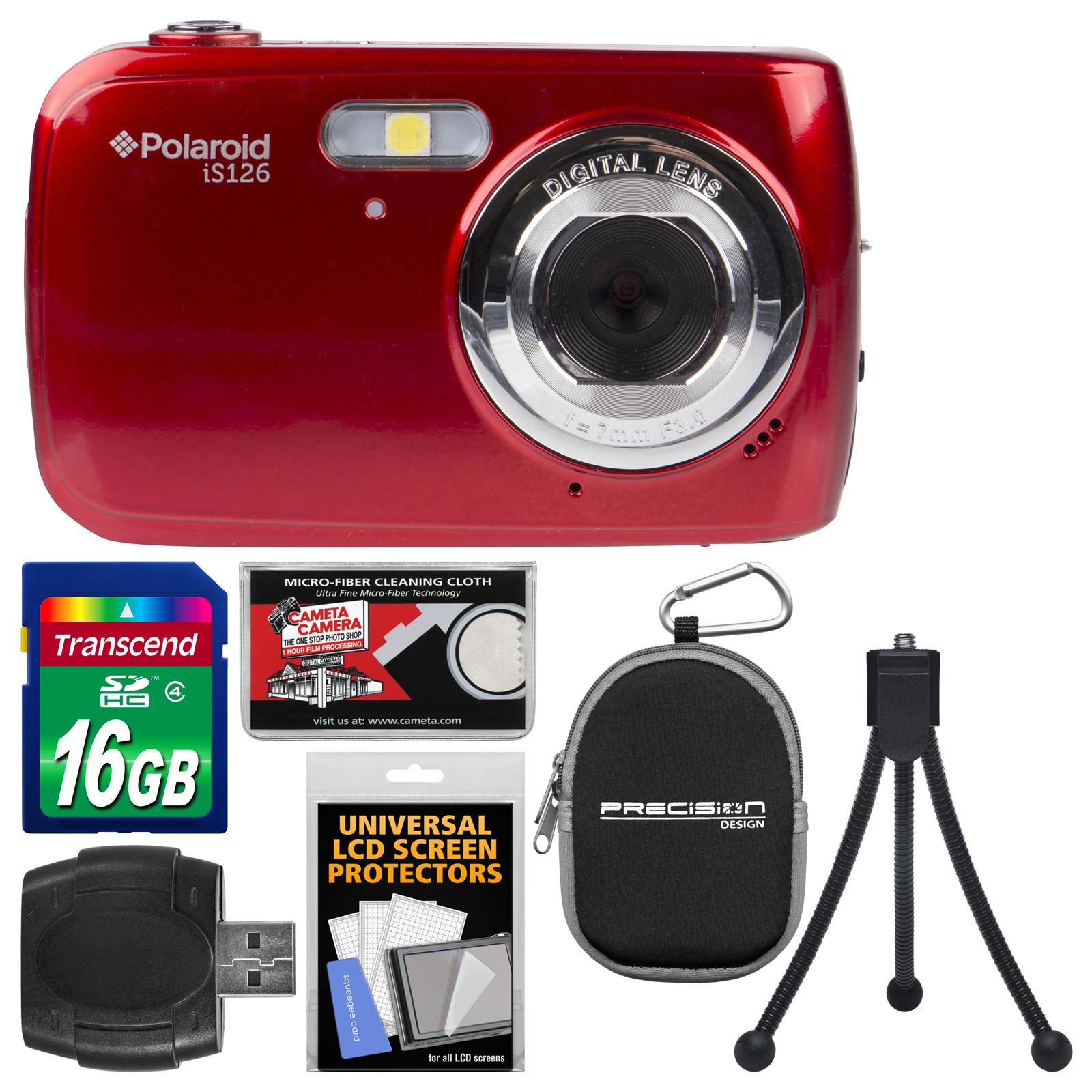 Polaroid iS126 16.1MP Digital Camera (Black) with 16GB Card + Case + Flex Tripod + Kit