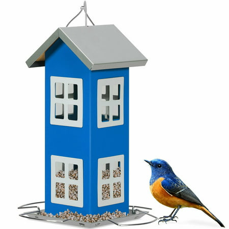 Costway Outdoor Wild Bird Feeder Weatherproof House Design Garden Yard Decoration Blue Bird Feeder Weather Dome