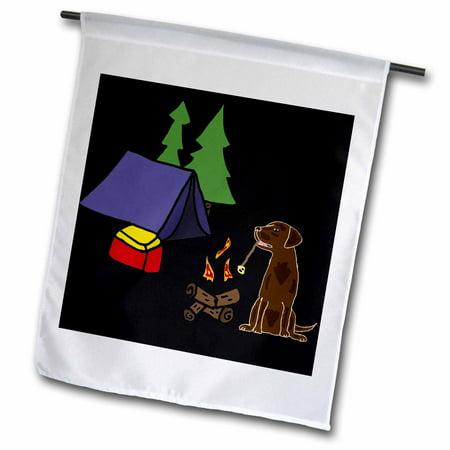 3dRose Funny Labrador Retriever Dog Camping Nature Cartoon - Garden Flag, 12 by 18-inch