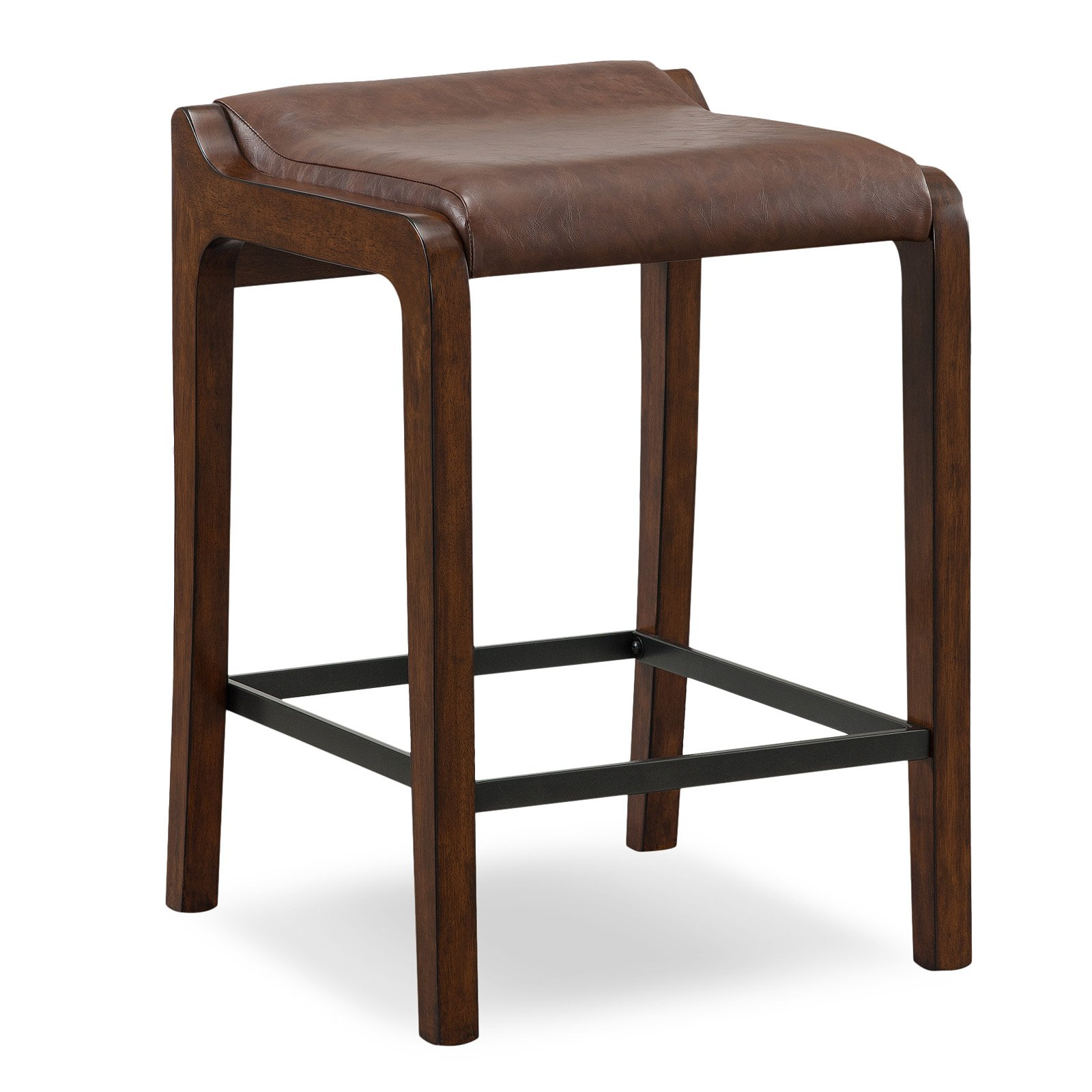 Leick Home 10116SN/SB Wood Fastback Counter Height Stool with Faux Leather Seat, Set of 2, Multiple colors