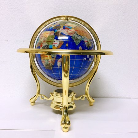 Unique Art 10-Inch Tall Table Top Blue Pearl Swirl Ocean Gemstone World Globe with Gold Tripod - Mother Of Pearl Globe
