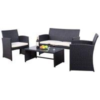 GHP Patio 4-Pcs Black Durable UV Resistant Rattan Wicker Furniture Set w Cushion