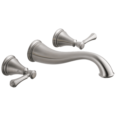 Delta Cassidy Two Handle Wall Mount Bathroom Faucet Trim in Stainless