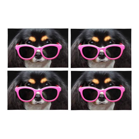 YUSDECOR Funny Puppy Dog Wearing Pink Sun Glasses Placemats Table Mats for Dining Room Kitchen Table Decoration 12x18 inch,Set of 4 - image 1 de 4
