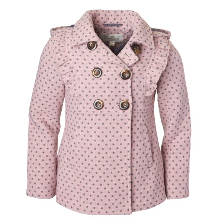 eb64ce52b68 Cremson - Cremson Girls  Wool Blend Hooded Ruffle Winter Dress Pea Coat  Jacket - Blush Dots (Size 6X) - Walmart.com