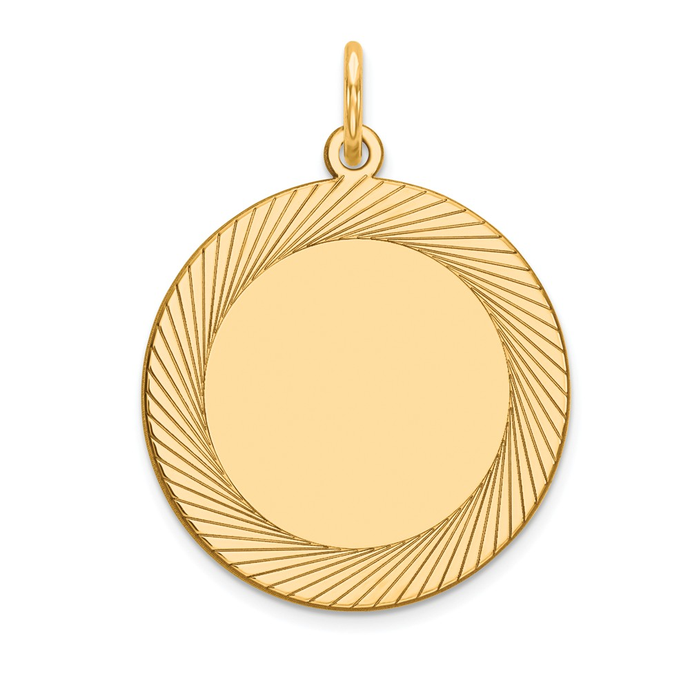 14k Yellow Gold Etched Design 0.027 Gauge Circular Engravable Disc Charm (1in long x 0.7in wide)