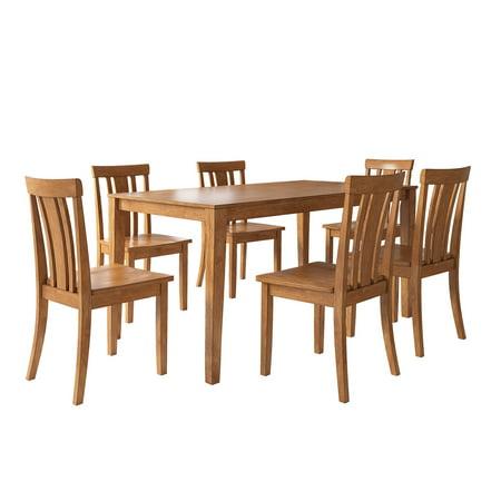 Lexington Large Dining Set with 6 Slat Back Chairs