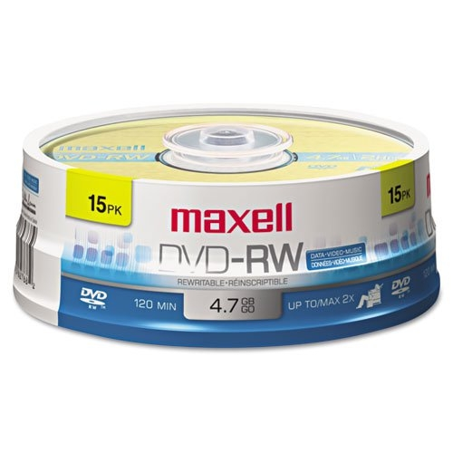 Maxell DVD-RW Discs, 4.7GB, 2x, Spindle, Gold, 15/Pack MAX-635117