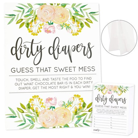 Guess That Sweet Mess, Dirty Diapers Baby Shower Game, Includes 1 Floral Sign and 60 Guessing Cards