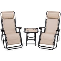 Gymax 3PC Zero Gravity Reclining Lounge Chairs Pillows Table Portable Folding Beige