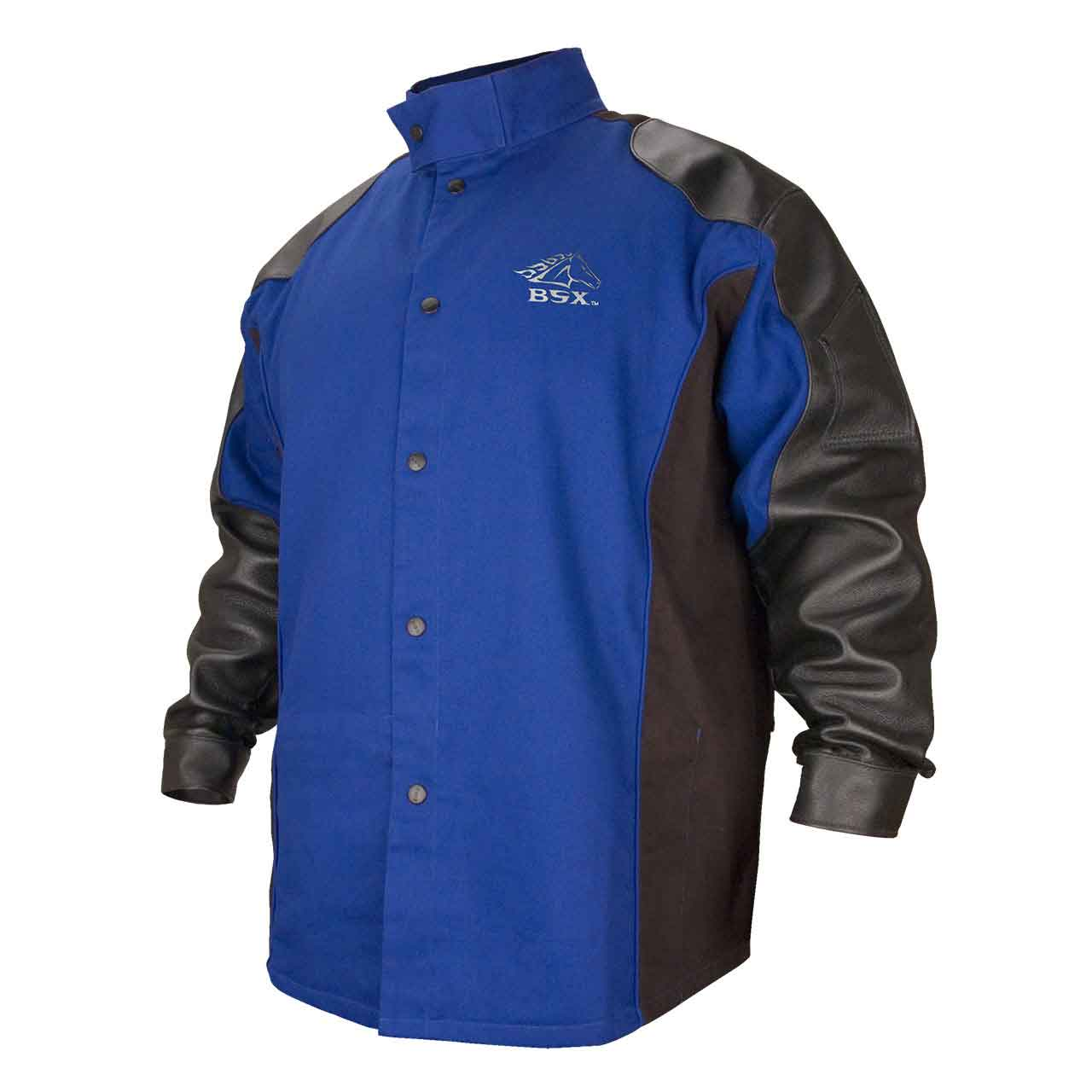 Black Stallion BXRB9C/PS BSX FR Cotton/Pigskin Welding Jacket, Blue/Black, 4X-Large