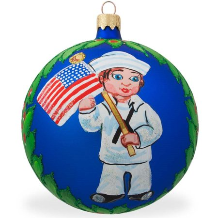 USA Navy Soldier w/ American Flag Glass Ball Patriotic Christmas Ornament 4 Inches