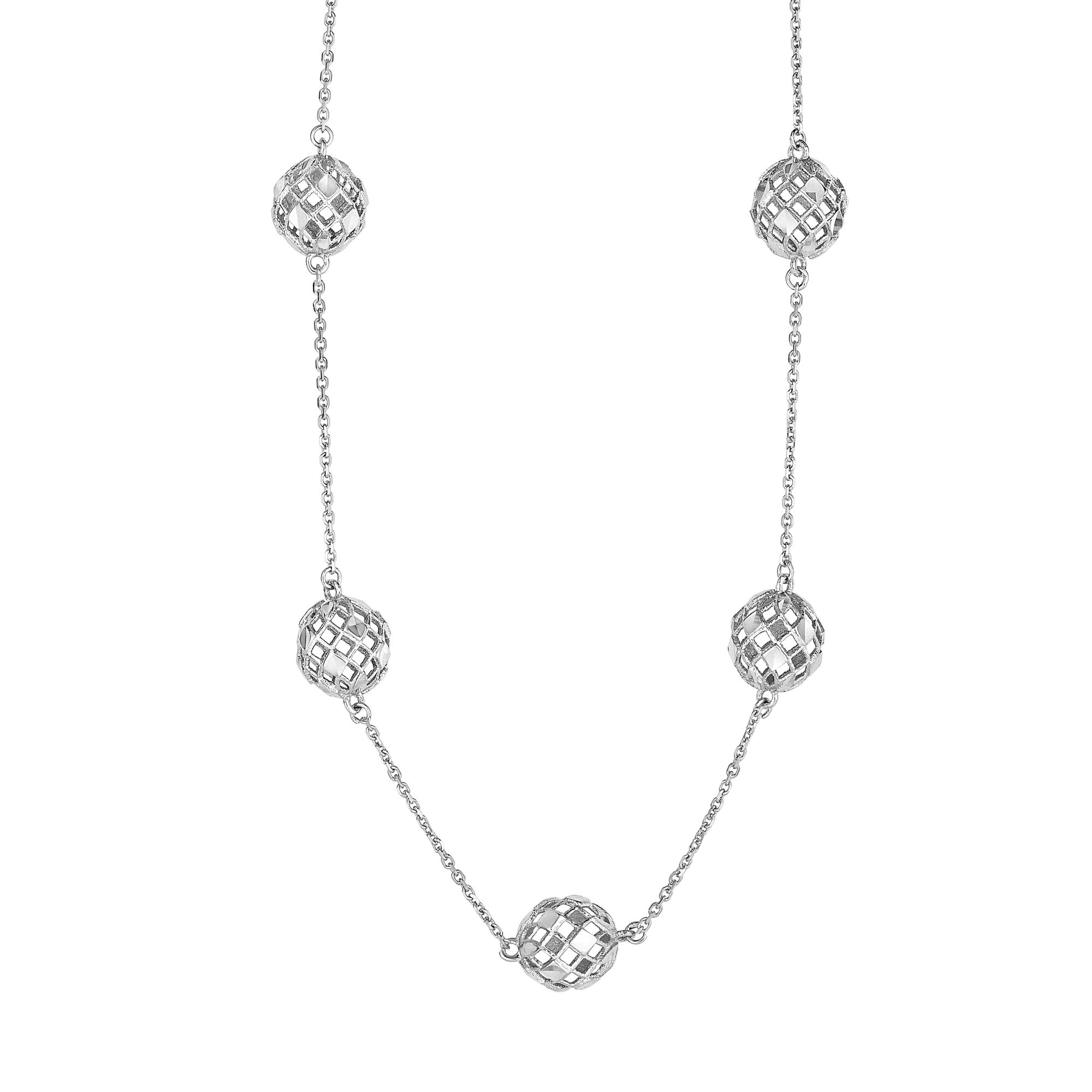 """10k White Gold Fancy Mesh Ball Stations Chain Necklace, Lobster Clasp 17"""" by JewelStop"""