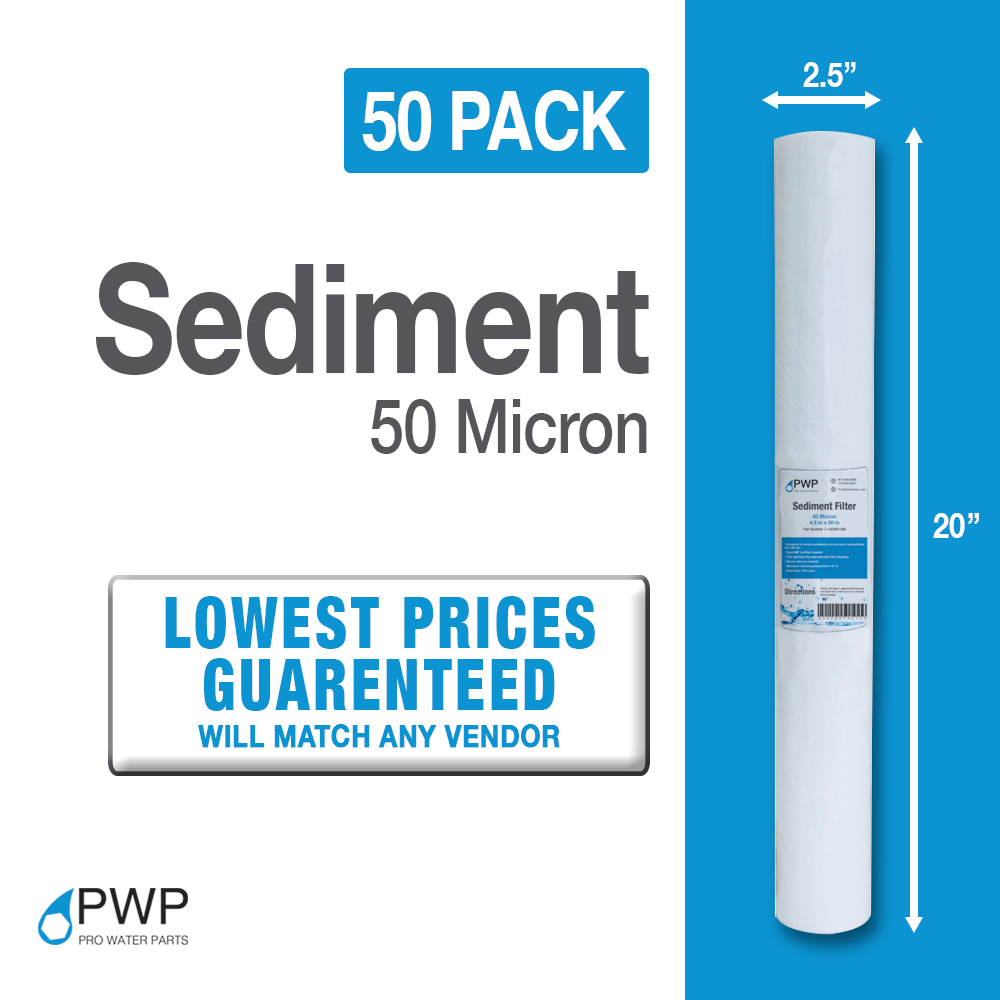 50 Pack Sediment Water Filter Cartridge Spun Poly RO Whole House 50Micron 20x2.5