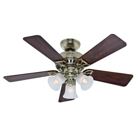Hunter Fan Company 53080 The Beacon Hill 42   Ceiling Fan With 5 Rosewood Medium Oak Blades And Light Kit  Bright Brass