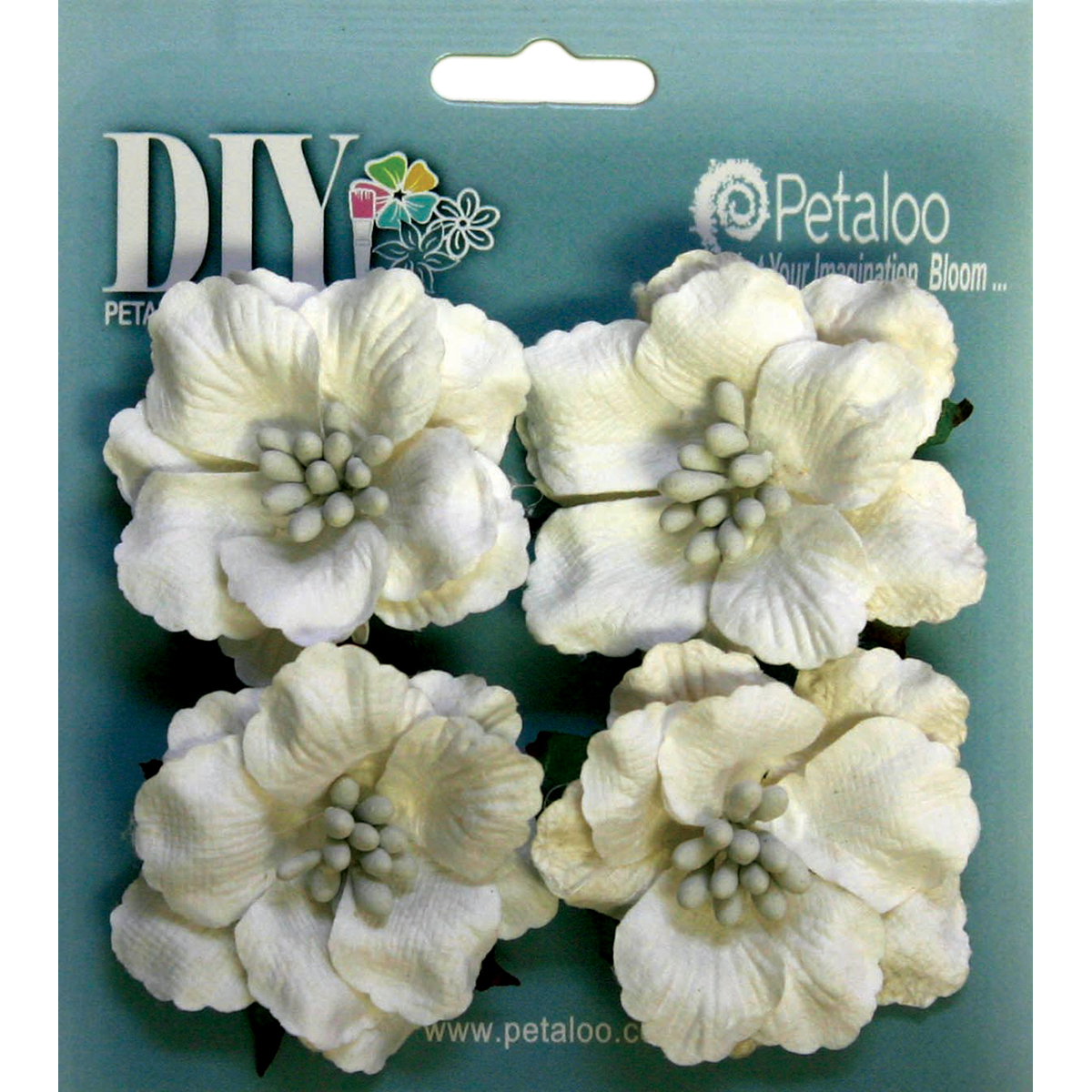 "DIY Paintables Darjeeling Ruffled Roses 2"" 4/Pkg-White"