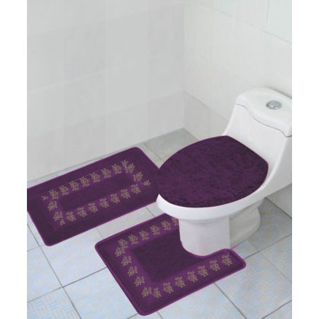 BATHROOM COLLECTION #5 PURPLE CLEARANCE LAST CHANCE SALE COUNTRY EMBROIDERY DESIGN SOLID COLOR 3PC SET WITH LID COVER ANTI-SLIP (Collection 5 Designs)