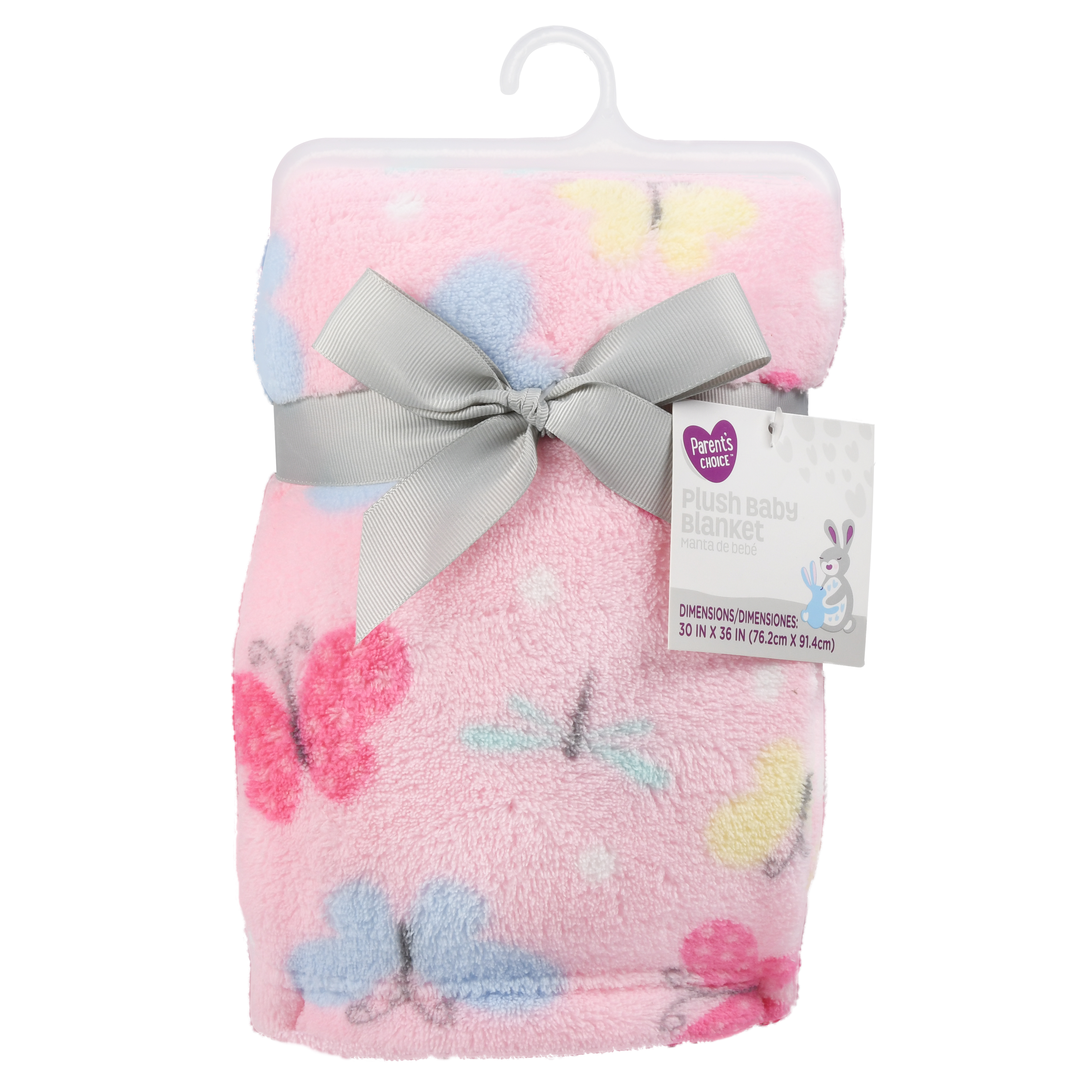 Parent's Choice Plush Baby Blanket, Pink Butterfly, 1 Pack