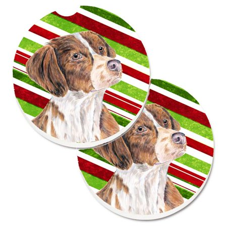 Carolines Treasures SC9349CARC Brittany Candy Cane Holiday Christmas Set of 2 Cup Holder Car Coaster - image 1 of 1