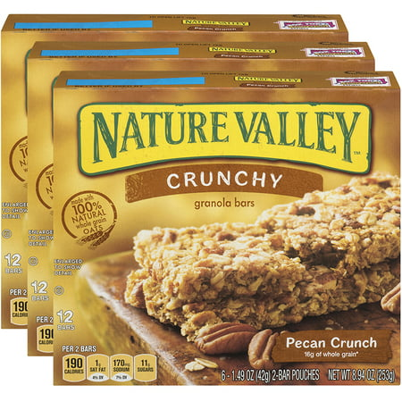 Nature Valley Granola Bars, Crunchy, Pecan Crunch, 1.5 Oz, 6 Ct (Pack of 3)