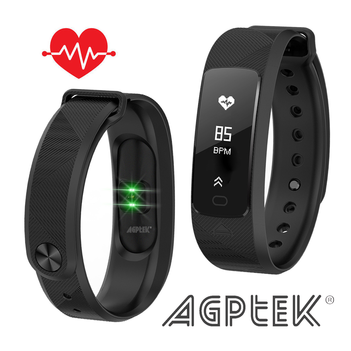AGPtek Fitness Tracker Smart Wristband with Blood Pressure Heart Rate Monitor IP68 Waterproof Pedometer Sleep Monitor