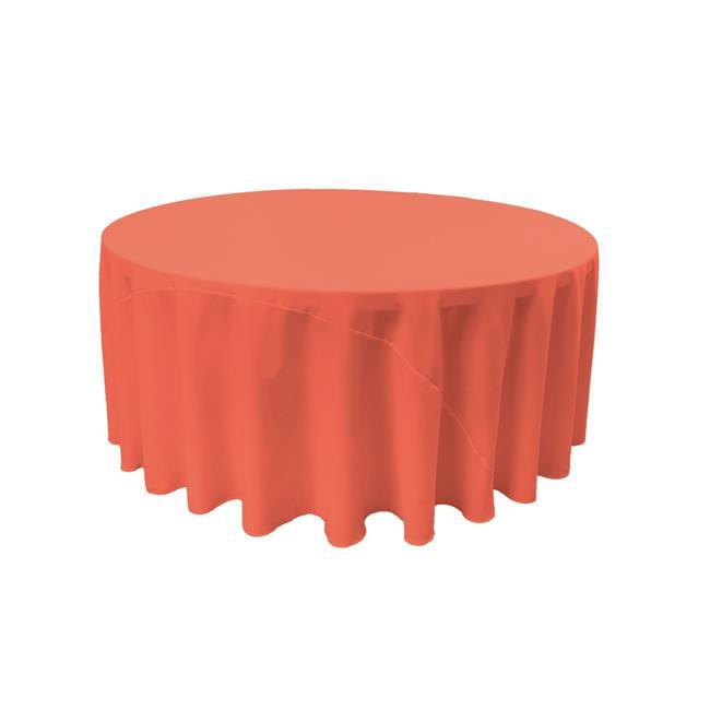 LA Linen TCpop120R-CoralP55 Polyester Poplin Tablecloth, Coral 120 in. Round by LA Linen