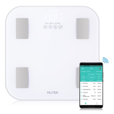 MLITER Bluetooth Body Fat Scale Easy Operation Measure 11 Body Composition Data High Precision Statistics By Date/Week/Month 16 Users Information Storage Super White Tempered Glass Platform