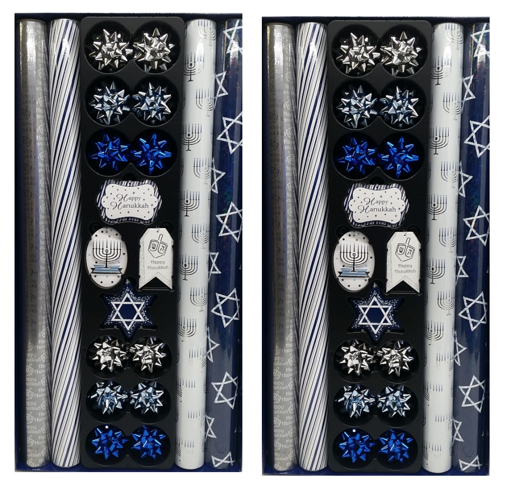 Tom Smith Hanukkah Wrap with 12 Coordinating Tags & Bows, 2-Pack