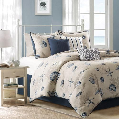 Home Essence Rockaway 7-Piece Bedding Comforter Set, Blue