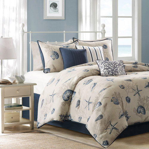Home Essence Rockaway 7-Piece Bedding Comforter Set, Blue