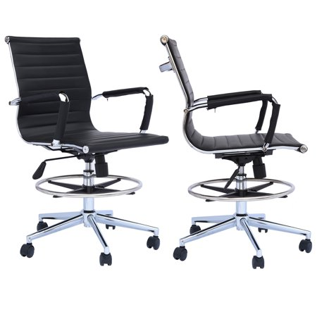 Marvelous 2Xhome Set Of 2 Office Chair Ribbed Mid Back With Wheels And Arms For Home Office Conference Room Tilt Ribbed Adjustable Height Chrome Swivel With Lamtechconsult Wood Chair Design Ideas Lamtechconsultcom