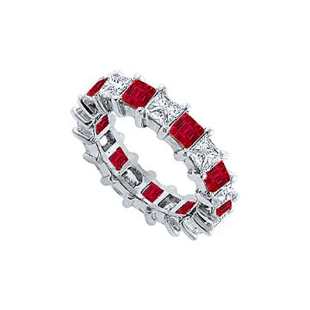Cubic Zirconia and Created Ruby Eternity Band 925 Sterling Silver 5.00 CT TGW - image 1 de 2