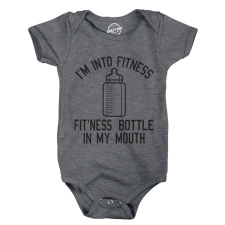 Creeper Im Into Fitness Fitness Bottle In My Mouth Funny Baby Bodysuit For Newborn Funny Baby Onesie T-shirt