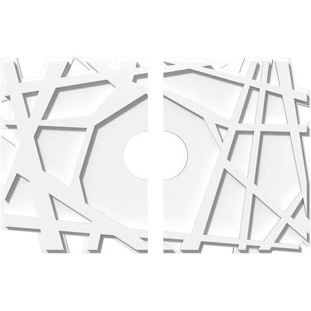 Ekena Millwork CMP24X16NO2-04000 4 in. ID x 8.5 in. Rectangle Novo Architectural Grade PVC Contemporary Ceiling Medallion - 2 Piece - image 1 de 1