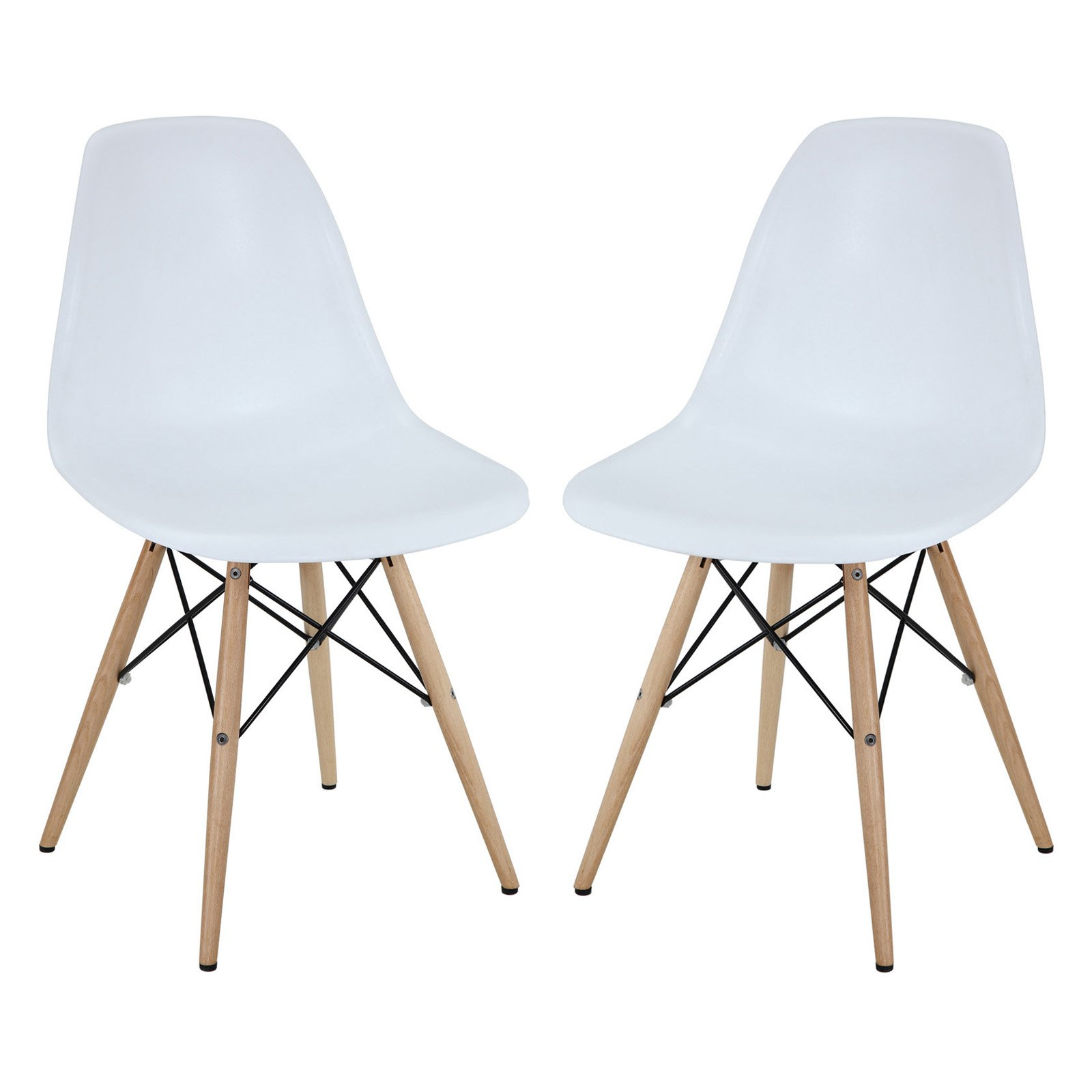Modway Pyramid Indoor Or Outdoor Dining Side Chair Set Of 2 In White
