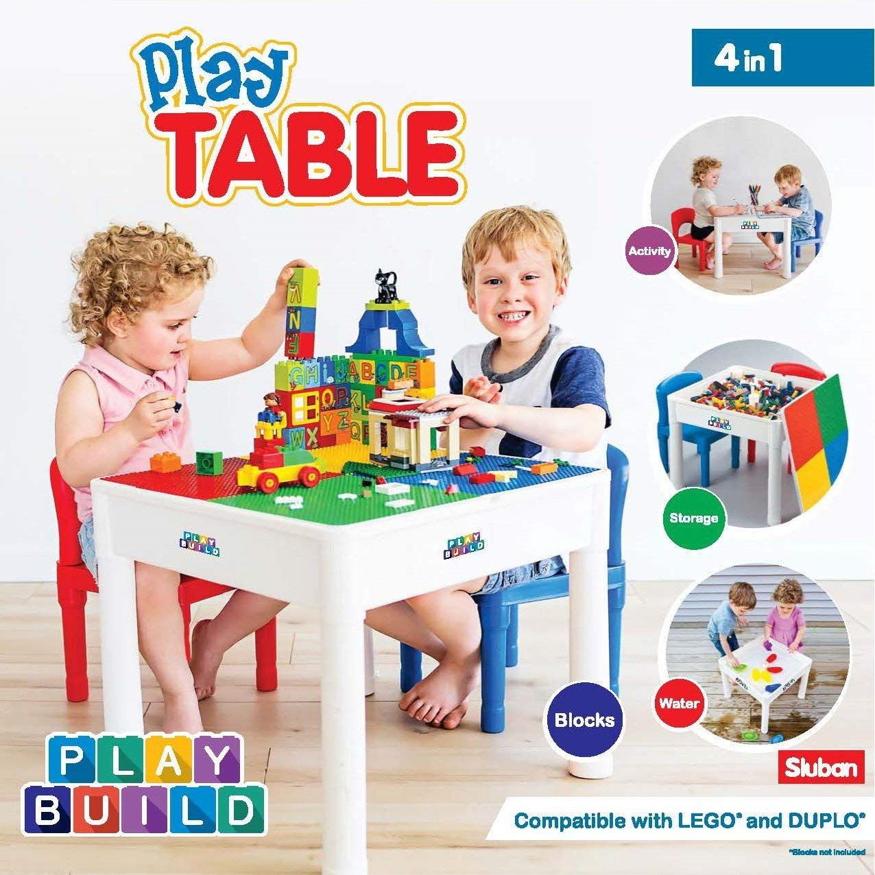 Lego Duplo Table Kids 4 In 1 Play Build Table Set For Indoor Activity Outdoor Water Play Toy Storage Building Block Fun Includes 2 Toddler