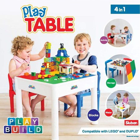 (Playbuild  Kids 4 in 1 Play & Build Table Set for Indoor Activity, Outdoor Water Play, Toy Storage & Building Block Fun  Includes 2 Toddler Chairs)