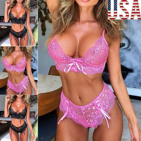 Women's Sexy Lingerie Babydoll Sleepwear Underwear Sets Lace Floral Bandage Bra+Panties 2pcs Sets (Lingerie Collection)