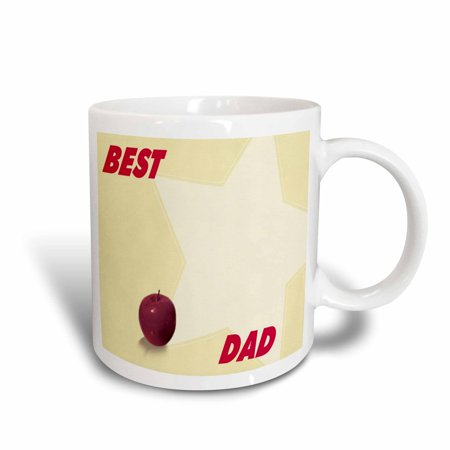 3dRose Red Apple and Star With Best Dad Words, Ceramic Mug,