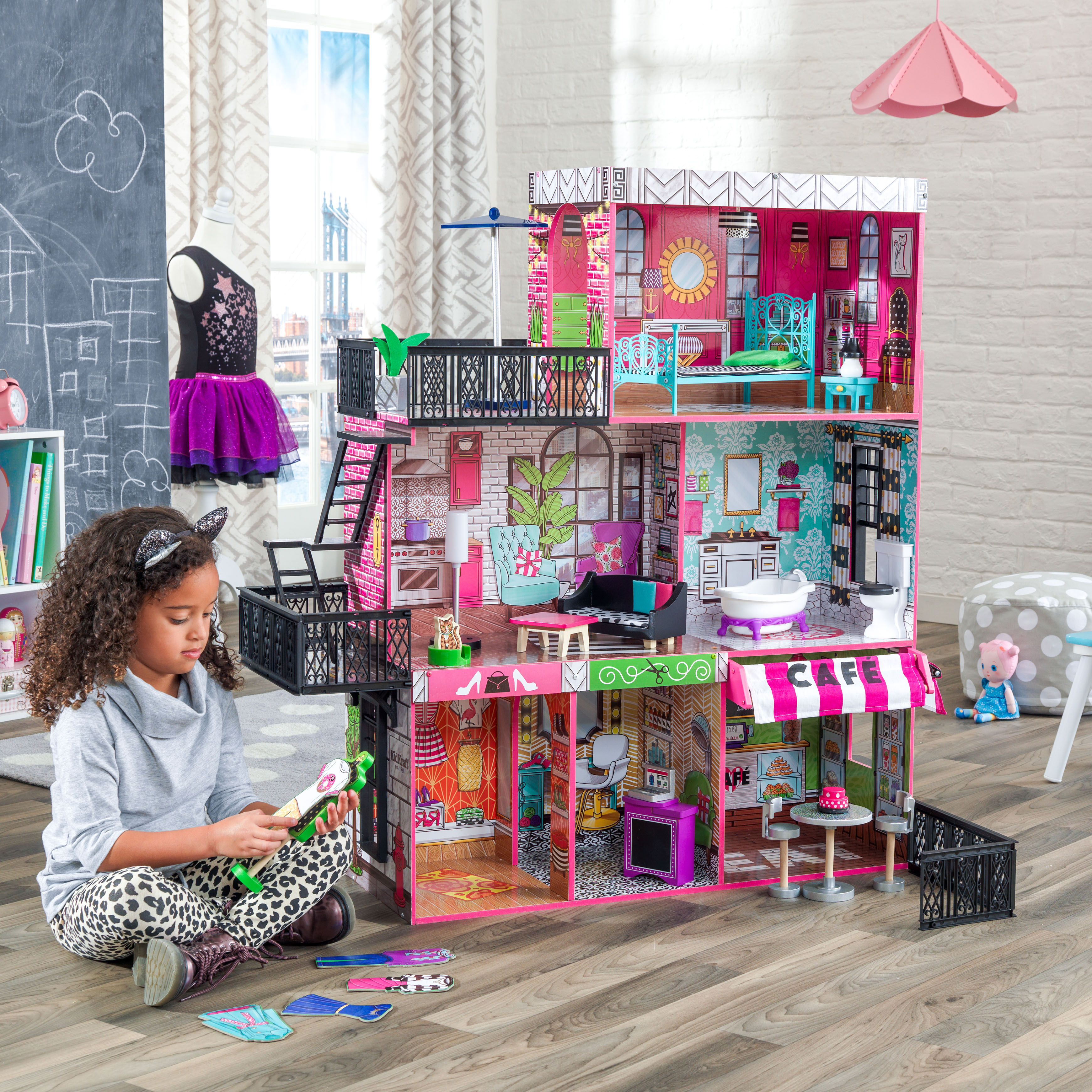 Details about Barbie Size Loft Dollhouse Furniture Girls Playhouse 25  fashionable Accessories