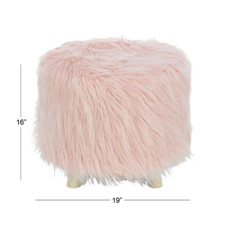 Pink Butterfly Stool - Decmode Modern 16 X 19 Inch Pink Faux Fur Foot Stool, Pink